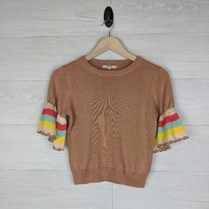 Tularosa Brown Colorful Sleeve Sweater Top